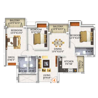 3Bhk Flats in Annanagar For Sale